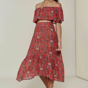 For Love and Lemons Pia Crop Top Red Floral